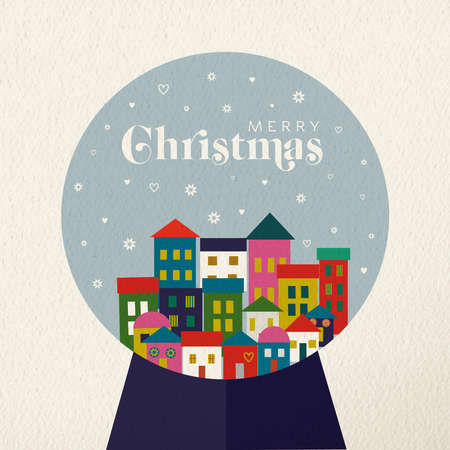 Merry Christmas holiday folk art card illustration. Scandinavian winter snow globe, traditional geometric shapes in festive colors. EPS10 vector.