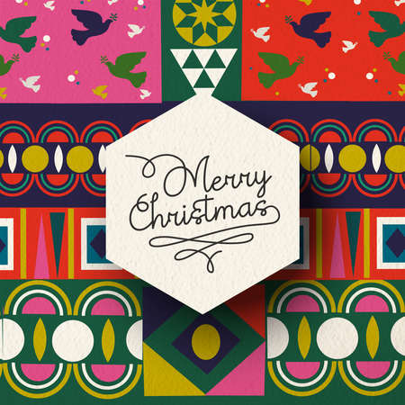 Merry Christmas holiday illustration of vintage geometric shape art background, colorful winter Scandinavian design.