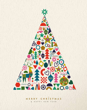 Merry Christmas and Happy New Year card illustration of vintage geometric icons in winter pine tree shape, holiday Scandinavian design. EPS10 vector.