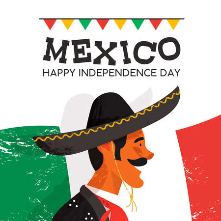 Mexico independence day illustration of traditional mariachi character. Hand drawn mexican man with sombrero and typical clothes on country flag background. EPS10 vector.