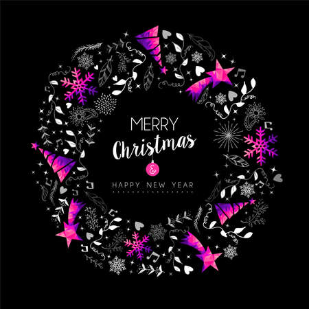 Merry Christmas Happy New Year greeting card design, modern pink low poly wreath decoration on black night background with hand drawn holiday nature shapes. EPS10 vector.