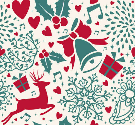 Merry Christmas vintage seamless pattern with deer shapes and xmas ornaments. Reindeer decoration background in holiday colors.