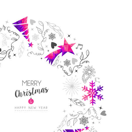 Merry Christmas Happy New Year greeting card design, pink low poly pine tree and Xmas season decoration with hand drawn holiday nature shapes.