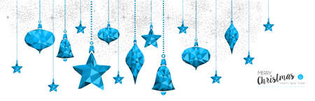Merry Christmas happy new year elegant illustration in blue low poly style with star bauble ornament decoration. Ideal for holiday greeting card, Xmas poster or web. EPS10 vector.