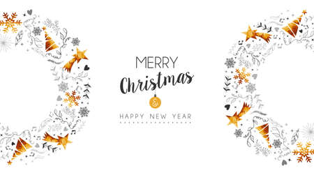 Merry Christmas and Happy New Year gold wave decoration with pine tree, nature hand drawn ornaments for greeting card or holiday background. EPS10 vector.
