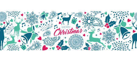 Merry Christmas vintage web banner with deer seamless pattern background. Xmas reindeer decoration icons in holiday colors. EPS10 vector. Illustration