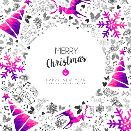 Merry Christmas Happy New Year greeting card design, pink low poly reindeer and Xmas season decoration with hand drawn holiday nature shapes. EPS10 vector.