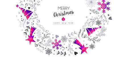 Merry Christmas Happy New Year greeting card design, pink low poly pine tree and Xmas season decoration with hand drawn holiday nature shapes. EPS10 vector.