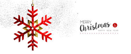 Merry Christmas happy new year elegant illustration in red low poly style with winter snowflake ornament decoration. Ideal for holiday greeting card, Xmas poster or web. EPS10 vector.