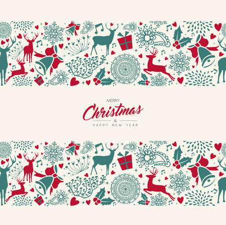 Merry Christmas and Happy New Year retro vintage card with deer seamless pattern background. Xmas reindeer decoration icons in holiday colors. EPS10 vector.