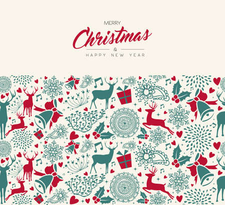 Merry Christmas and Happy New Year vintage card with deer seamless pattern background. Xmas reindeer decoration icons in holiday colors. EPS10 vector. Illustration