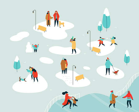 People group doing winter activities on snow park landscape - playing with dog, snowball fight, friends talking. Flat style holiday illustration for christmas season.