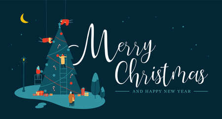 Merry Christmas and Happy New Year greeting card, People group making big xmas pine tree together for holiday season with ornament decoration gifts at night.