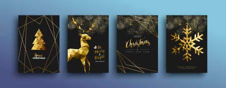 Merry christmas gold template set with holiday reindeer and xmas elements in low poly style. Ideal for greeting card, poster or web design.