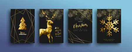 Modèle d'or joyeux Noël serti d'éléments de renne et de Noël de vacances dans un style low poly. Idéal pour la conception de cartes de voeux, d'affiches ou de sites Web. Vecteurs