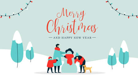 Merry Christmas happy new year winter illustration, family with kid and dog making snowman on snow landscape background. Modern people holiday design for xmas season. Çizim