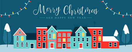 Merry Christmas and Happy New Year web banner illustration of cute houses in winter season. Holiday city at night with pine trees, snow, xmas lights decoration greeting card design.