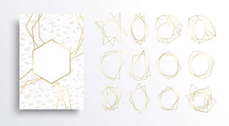 Luxury gold and white card background set, golden color frame collection in art deco style with marble stone texture. Elegant template designs for invitation or premium product. Reklamní fotografie - 109615342