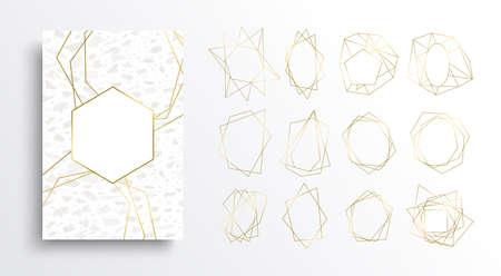 Luxusgold- und Weißkartenhintergrundsatz, goldene Farbrahmensammlung im Art-Deco-Stil mit Marmorsteinbeschaffenheit. Elegante Schablonendesigns für Einladung oder Premiumprodukt.