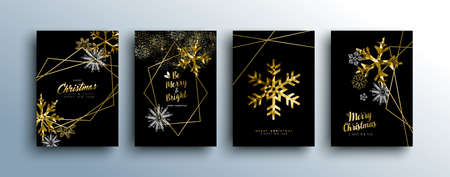 Merry christmas gold template set with winter season and xmas elements in low poly style. Ideal for greeting card, poster or web. EPS10 vector.
