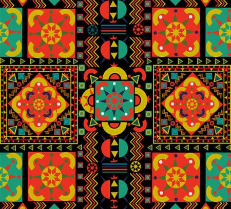 Nahtloses Muster mit buntem Patchwork. Retro-böhmische Volks-Multicolor-Blumendekoration. Nützlich für Keramikfliesen, Tapeten, Linoleum, Textilien, Webseitenhintergrund.