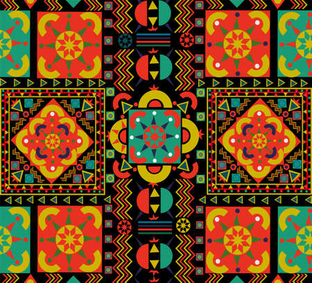 Seamless pattern with colorful patchwork. Retro Bohemian folk multicolor floral decoration. Useful for ceramic tile, wallpaper, linoleum, textile, web page background.
