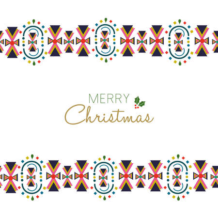 Merry Christmas holiday greeting card illustration. Traditional Scandinavian style decoration with abstract geometric border in festive colors. EPS10 vector.