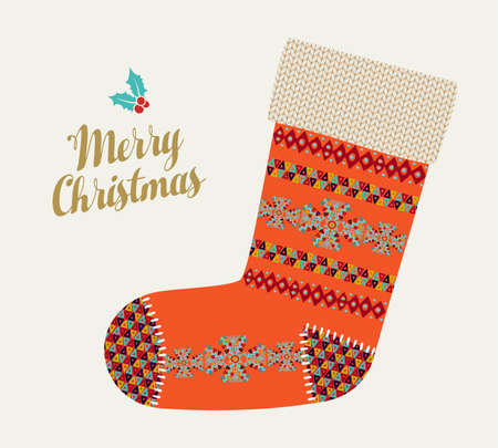 Merry Christmas illustration of vintage red winter stocking sock with boho and tribal traditional geometric shapes. Colorful holiday Scandinavian design EPS10 vector. Illustration