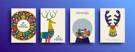 Merry Christmas folk art greeting card set. Template collection of Scandinavian style reindeer with traditional geometric shapes in festive colors. EPS10 vector. Banque d'images - 109322662