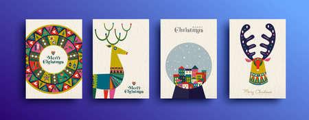 Merry Christmas volkskunst wenskaartenset. Sjablooncollectie van rendieren in Scandinavische stijl met traditionele geometrische vormen in feestelijke kleuren. Eps10-vector.