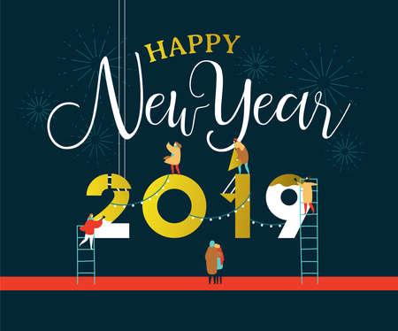 Szczęśliwego nowego roku ilustracja kartkę z życzeniami na uroczystość z zabawy ludzie grupy budowania 2019 znak razem na nocnym niebie fajerwerków. Eps10 wektor.