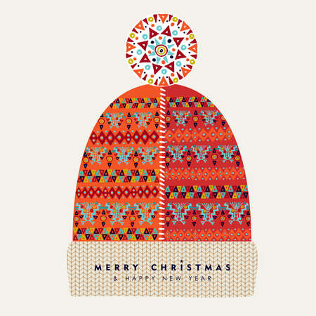 Merry Christmas and Happy New Year illustration of vintage red winter hat with traditional geometric shapes, colorful holiday Scandinavian design. EPS10 vector.