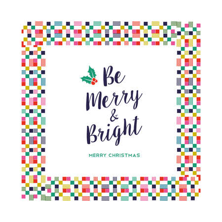 Merry Christmas holiday greeting card illustration. Abstract style decoration with colorful geometric frame in festive colors. EPS10 vector.