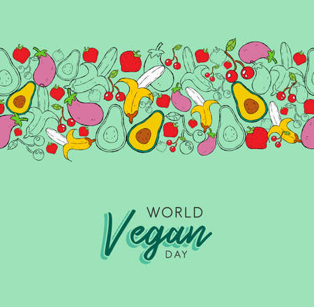 World Vegan day greeting card background with hand drawn fruit and vegetable icons. Healthy eating or balanced nutrition concept background.