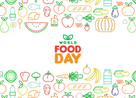 World Food Day greeting card illustration for nutrition and healthy diet with colorful outline style icons. Includes vegetables, fruit, bread, meat.