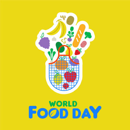 World Food Day greeting card illustration for healthy eating, grocery bag and colorful cartoon icons. Includes vegetables, fruit, bread, nuts. Illustration