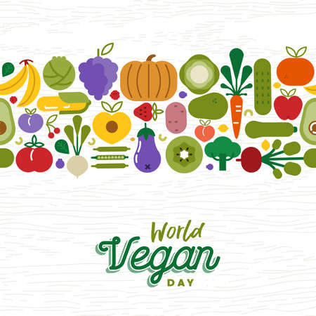 World Food Day greeting card with fruit and vegetable seamless pattern. Flat cartoon icon illustration for healthy diet or balanced nutrition concept.