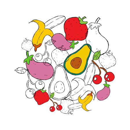Fruit and Vegetables hand drawn illustration for healthy eating or organic food concept.