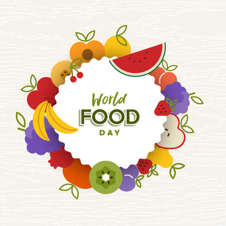 World Food Day greeting card illustration for nutrition and healthy diet with colorful flat cartoon fruit icons. Illustration