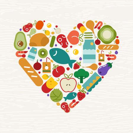 Lebensmittelikonen, die Herzform für gesundes Essen oder ausgewogenes Ernährungskonzept bilden. Beinhaltet Obst, Gemüse, Fleisch, Brot und Milchprodukte.