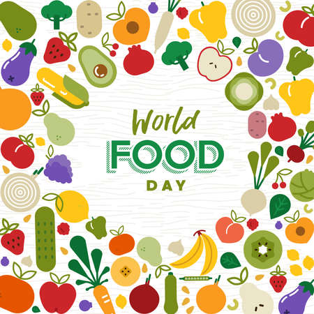 World Food Day greeting card illustration for nutrition or healthy diet with colorful flat cartoon icons. Includes vegetables and fruit. Illustration