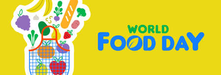 World Food Day web banner illustration for healthy eating, grocery bag and colorful cartoon icons. Includes vegetables, fruit, bread, nuts.