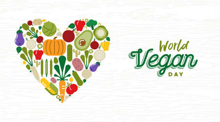 World Vegan Day greeting card illustration for organic food and healthy diet with colorful flat cartoon vegetable icons.