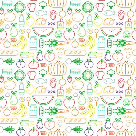 Food icon seamless pattern with colorful outline style symbols. Healthy eating or balanced nutrition concept background. Includes fruit, vegetables, meat, bread and dairy. Illustration