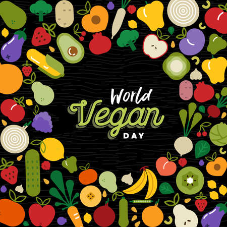 World Vegan Day greeting card with fruit and vegetables. Flat cartoon icon illustration for healthy diet or balanced nutrition concept. Ilustracja