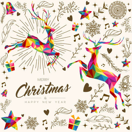 Merry Christmas and Happy New Year greeting card, colorful low poly style background with reindeer, hand drawn decoration. Xmas season illustration for holiday event. EPS10 vector.