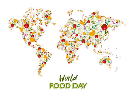 Food Day greeting card illustration for nutrition and healthy diet with vegetable world map concept.