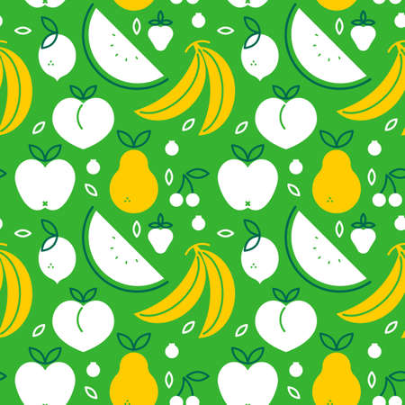 Fruit seamless pattern with green flat cartoon icons. Healthy eating or organic food concept design background. Includes apple, banana, watermelon and more. Illustration