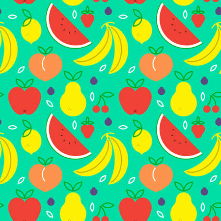 Fruit seamless pattern with colorful flat cartoon icons. Healthy eating or balanced nutrition concept background. Includes apple, banana, watermelon and more.