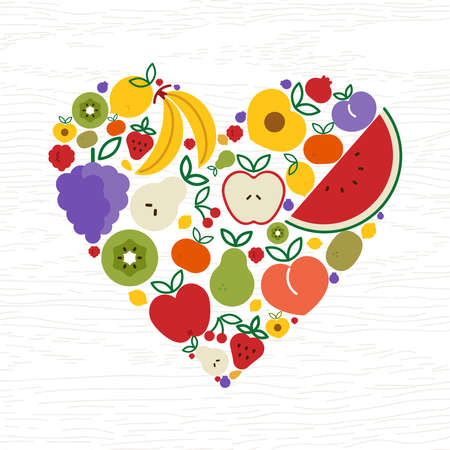 Fruit icons making heart shape for healthy eating or organic food concept. Includes apple, orange, banana, watermelon, strawberry and more. Illusztráció